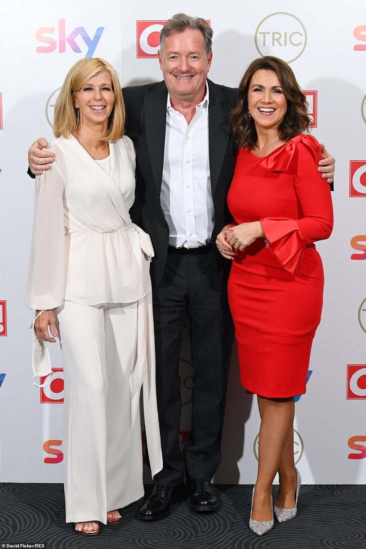 Close:Piers Morgan reunited with his former Good Morning Britain co-presenters Kate Garraway and Susanna Reid on the red carpet at the TRIC Awards 2021 on Wednesday