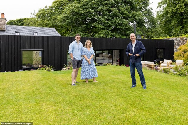 Iain Shillady, 38, of Staran Architects and his wife Jenny, 37, appear on Channel 4's Grand Designs tonight having bought their 150-year-old bothy, along with its adjoining walled garden, for £225,000 (pictured, on the lawn)