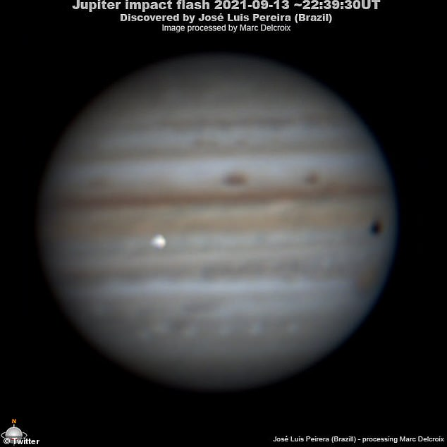 José Luis Pereira set up his equipment in São Caetano do Sul, in the southeastern Brazilian state of São Paulo on September 12 and pointed the gear toward Jupiter.He then sent the information to Marc Delcroix of the French Astronomical Society, who confirmed the event seen in the footage is an impact. And it occurred on Monday at 6:39pm EDT