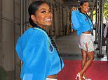 Gabrielle Union shows off her toned legs in a very flirty miniskirt