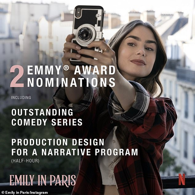 One down, one to go! Emily in Paris will compete for outstanding comedy series at the 73rd Primetime Emmy Awards airing Sunday on CBS, but it already lost the production design trophy to Wandavision