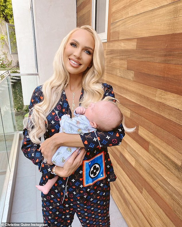 Scary situation: Christine noted that filming season four of the popular Netflix drama was particularly traumatic as she had to relive her son's 'extremely dramatic' birth where she almost 'flatlined' during an emergency C-section