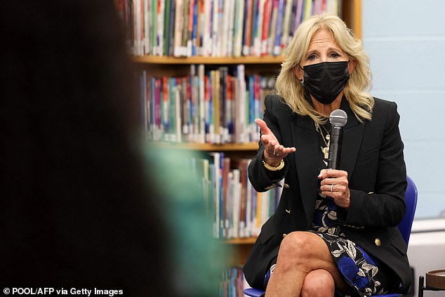 Jill Biden said she was glad to hear there was not a debate over wearing face masks in the classroom at the Milwaukee school district