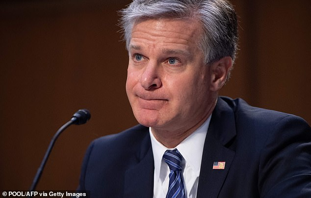 FBI Director Christopher Wray pictured at Wednesday's Senate committee hearing