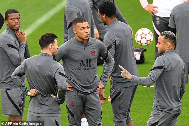 Messi (second left) will start up front with stars Kylian Mbappe (middle) and Neymar (right)