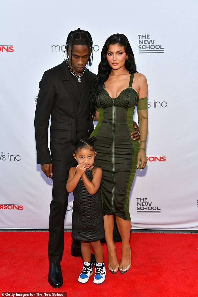 Sissy's fam:'He loves them. Him and Stormi have an amazing relationship. She has the biggest crush on him and I'm jealous sometimes,' Kendall said referencing Kylie's three-year-old daughter with rapper Travis Scott, 30; seen in June