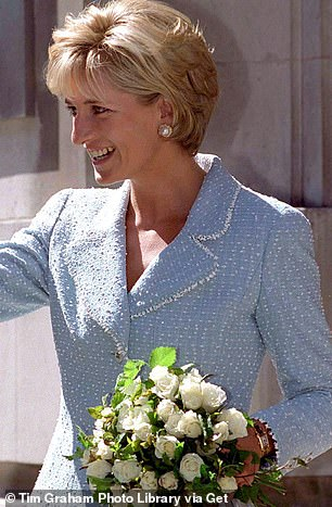 Meghan's elegant timepiece was originally owned by Diana, who is seen wearing it on her left write at an engagement at the British Lung Foundation in 1997
