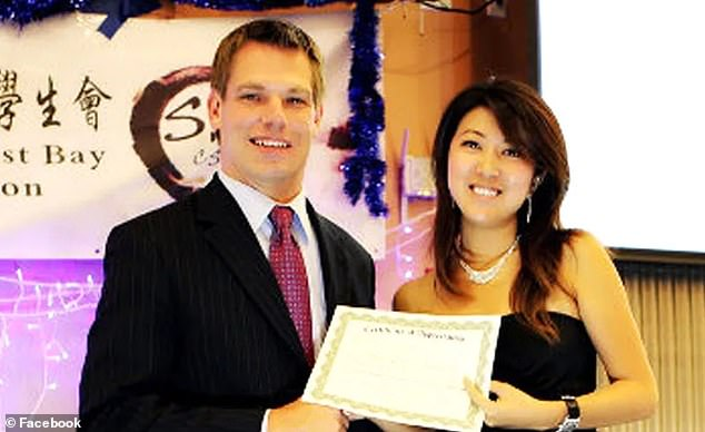 Rep. Eric Swalwell is pictured above with Christine Fang