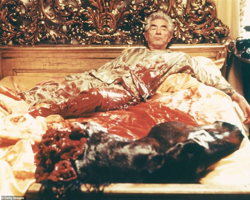 The home was featured in the hit 1972 film The Godfather. It appeared in the famous scene where film producer Jack Woltz, played by John Marley (above), wakes up to find the severed head of a horse in his bed