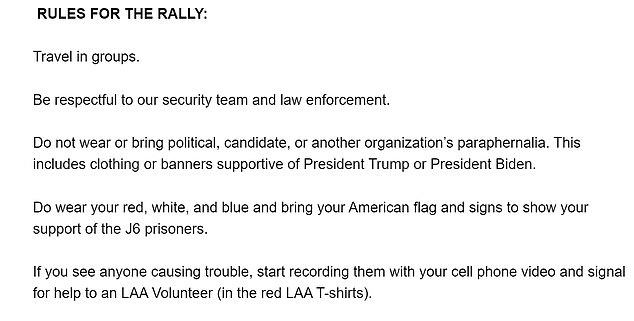 Guidance to attendees urged them not to bring 'political' paraphernalia and instead to wear red, white and blue. Troublemakers risk being videoed