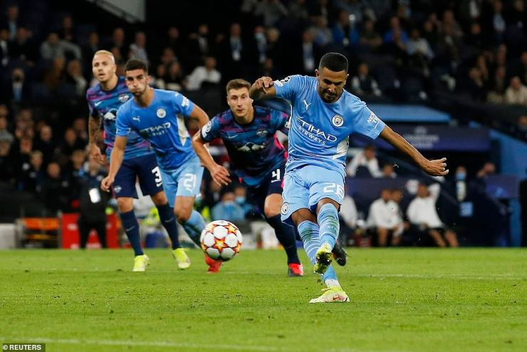 Riyad Mahrez dispatched a spot kick to give City a two-goal lead at half-time after Lukas Klostermann's handball in the box