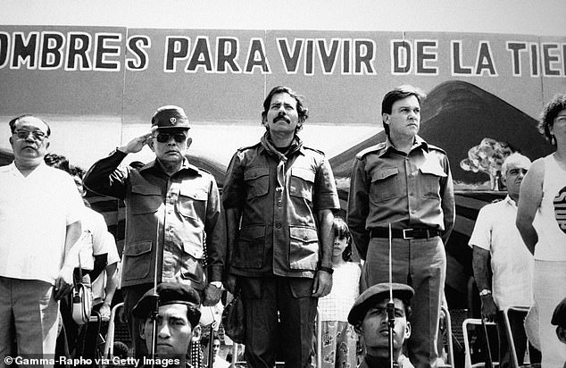 Nicaragua's current president Daniel Ortega is pictured centre in 1989 at an event marking the anniversary of the Sandinista Revolution
