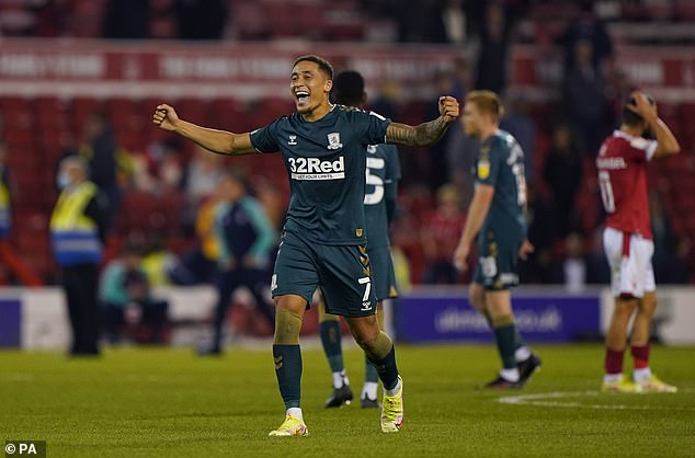 Marcus Tavernier, who provided the assist for Sporar, celebrates his side's 2-0 win