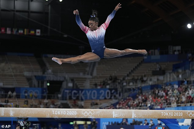 Comeback: The gymnast returned to competition in time for the balance beam final and ended up winning a bronze medal