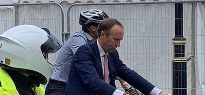 The former health secretary straddled an electric Lime bike