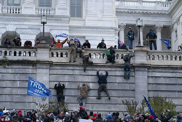 Rioters were seen scaling the west wall of the Capitol building in an attempt to get in
