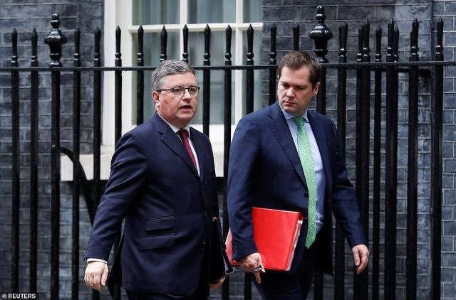A grim-faced Robert Buckland was also seen leaving after being fired as Justice Secretary
