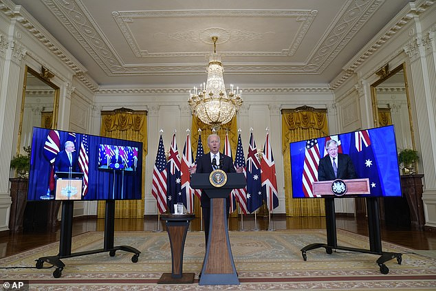 Biden was joined for the announcement by Prime Minister Boris Johnson of the UK and Prime Minister Scott Morrison by videolink