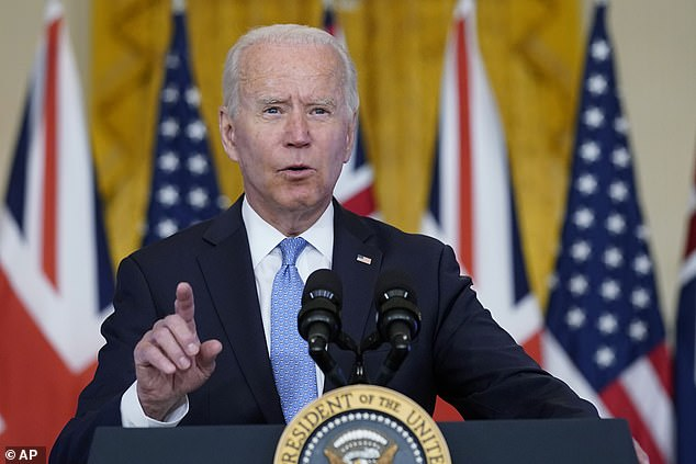 President Biden unveiled a new security arrangement with Australia and the UK that he said would ensure 'peace and stability in the Indo-Pacific for the long term'