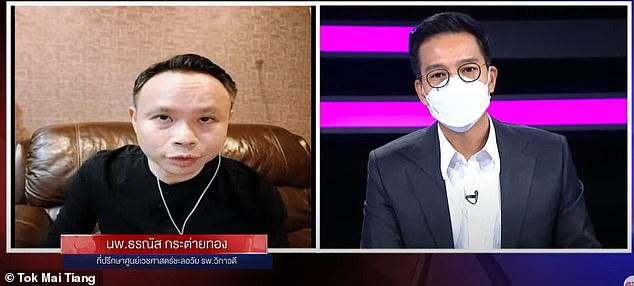 Rumors about Betadine originated from a Thai television show, on which a doctor (left) told the host (right) that gargling with iodine could prevent COVID-19