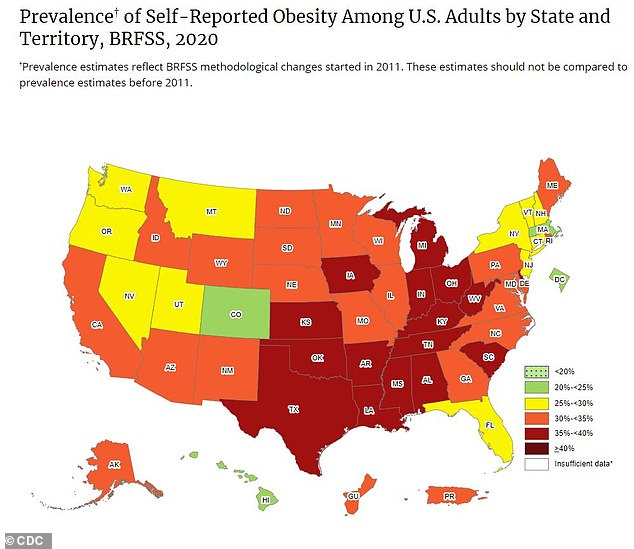 A new CDC map found that 16 states, including Alabama, Arkansas, Delaware, Indiana, Iowa, Kansas, Kentucky, Louisiana, Michigan, Mississippi, Ohio, Oklahoma, South Carolina, Tennessee, Texas and West Virginia, have low rates of adult obesity. is less than 35.  % (up)