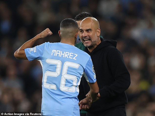 Pep Guardiola argued with Riyad Mahrez (left) and Jack Grealish over their defensive work