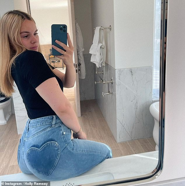 Looking good!Gordon Ramsay's daughter Holly, 21, proudly displayed her curves as she posed for a trio of chic Instagram snaps on Wednesday