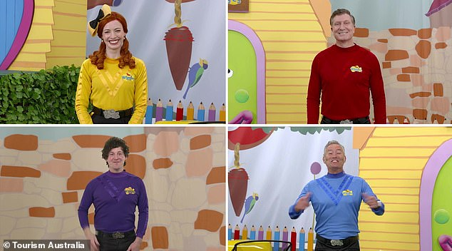 Fun content: The partnership will see the children's band (pictured clockwise from top left: Emma Watkins, Simon Pryce, Anthony Field and Lachlan Gillespie) promote holiday destinations around the country on the family hub of the Tourism Australia website