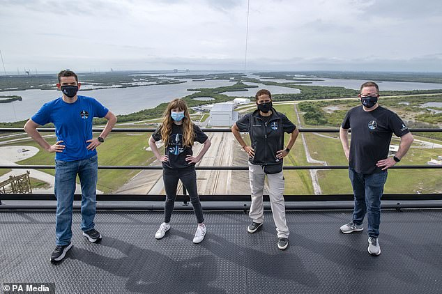 Jared Isaacman, left to right, Hayley Arsinaux, Sean Proctor and Chris Sambrowski make up the Inspiration4 crew