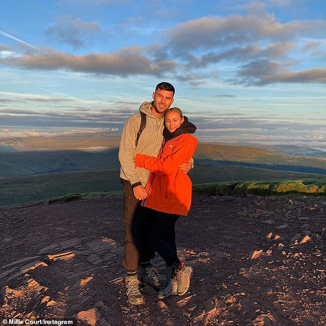 Cute:The bricklayer from Merthyr Tydfil, 22, and the Essex girl, 24, cuddled up in new snaps from the trip on their Instagram after getting up at 4.30am to catch the sunrise
