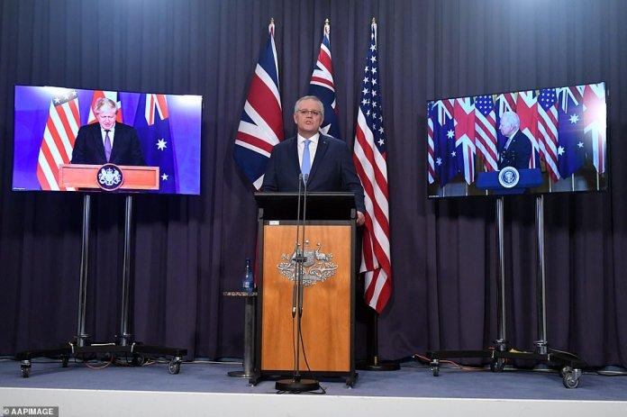 Australia's Prime Minister Scott Morrison (pictured) during a virtual press conference on Thursday morning with UK Prime Minister Boris Johnson and US President Joe Biden to announce the landmark deal