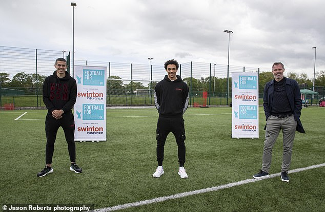 England stars Conor Coady (left) and Trent Alexander-Arnold (middle) have joined Jamie Carragher in supporting the Football for Change initiative