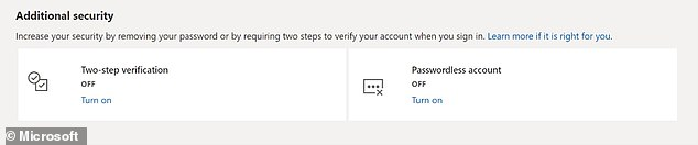 The move by the Redmond, Washington-based firm follows an initial rollout of the feature to Microsoft's business customers in March of this year.  Image: Microsoft Account Settings page that allows users to set up a passwordless account