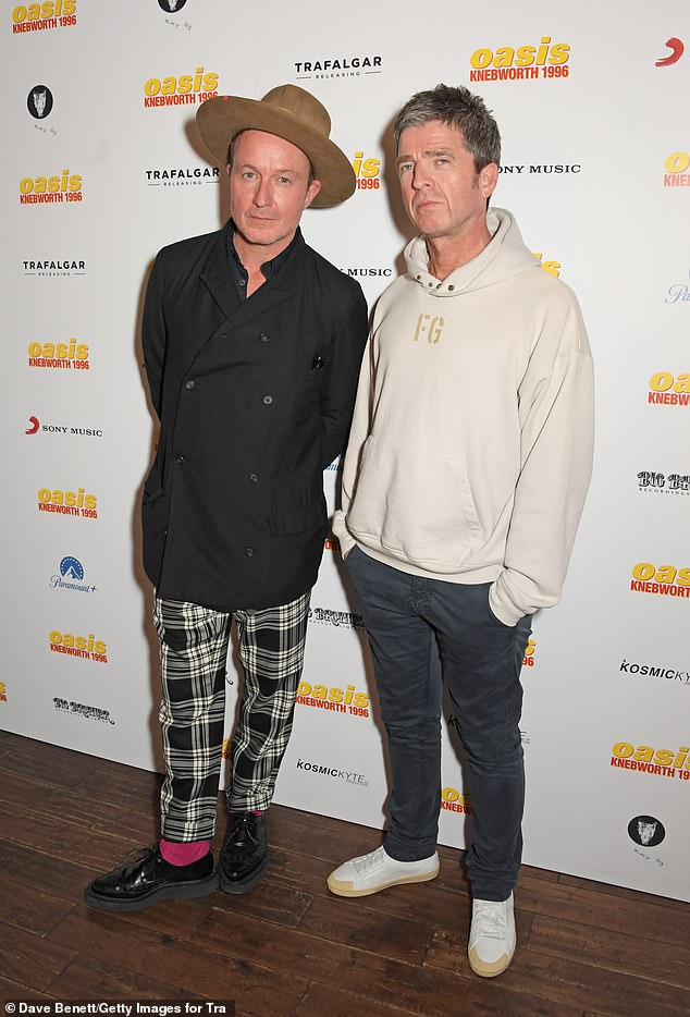 Tale to tell:Noel said 30 cameras captured the Knebworth gigs but they forgot about the footage after their American tour 'imploded' because both Liam and Noel missed shows