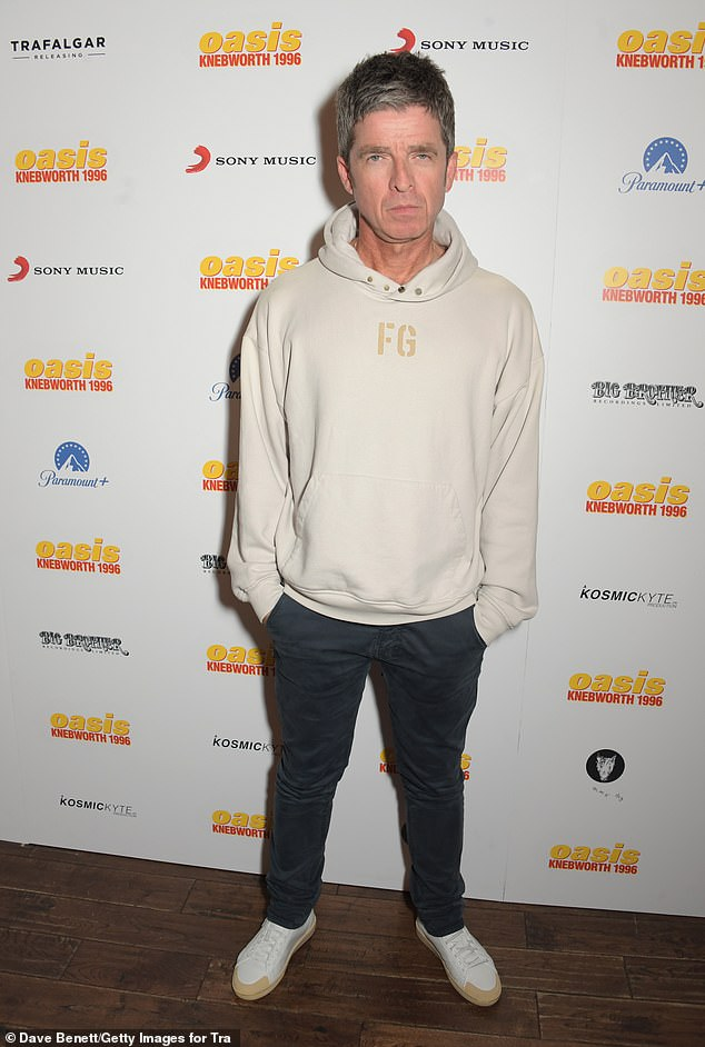 Keeping it casual:Noel Gallagher, 54, took centre stage at the event at the Picturehouse in central London which hosted the world premiere of Oasis Knebworth 1996