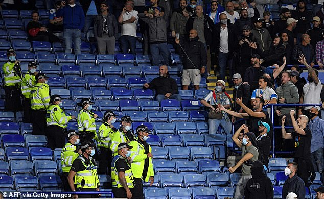 Police initially formed a cordon to separate the Napoli fans from the Leicester supporters