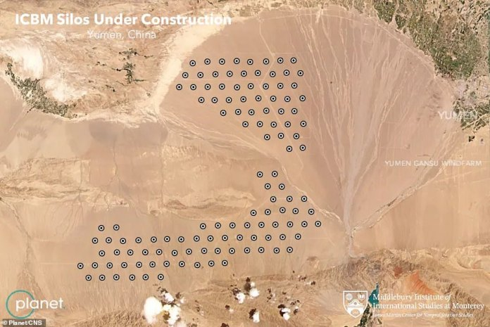 This image shows where the silos could be built in the Chinese desert as Beijing beefs up its military