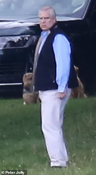 Andrew is seen this week in Balmoral next to his Range Rover and the lodge he was staying