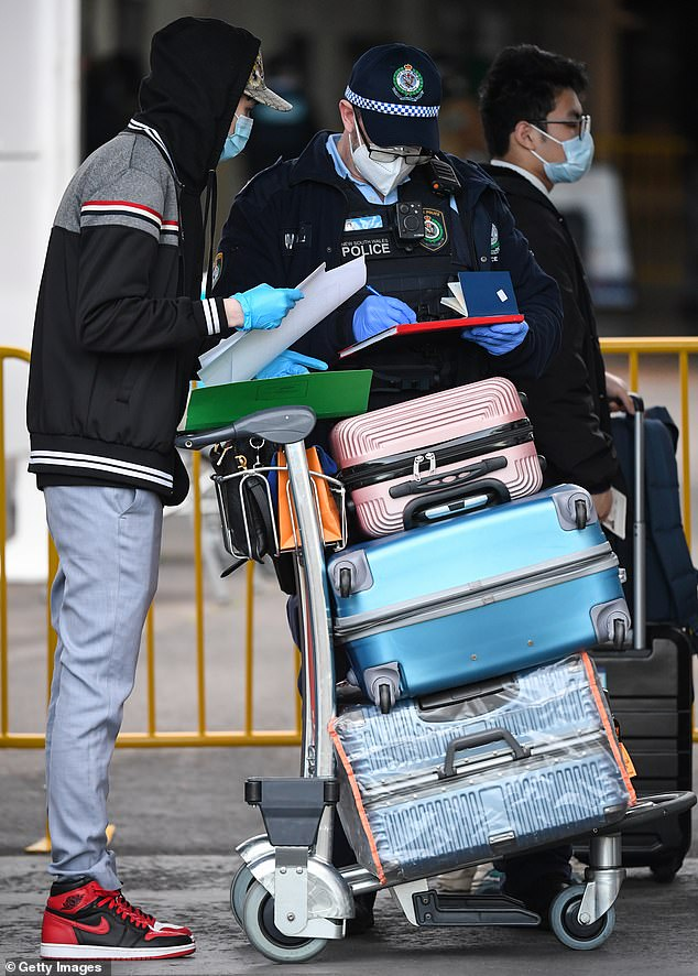 It was announced 175 fully-vaccinated people will take part in the test of the new system which will slash the time required for returned travellers to isolate (pictured, a passenger in Sydney)