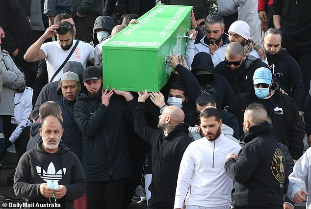 Family members carry the coffin of slain gangster Bilal Hamze ahead of his funeral prayer service at Lakemba mosque in June