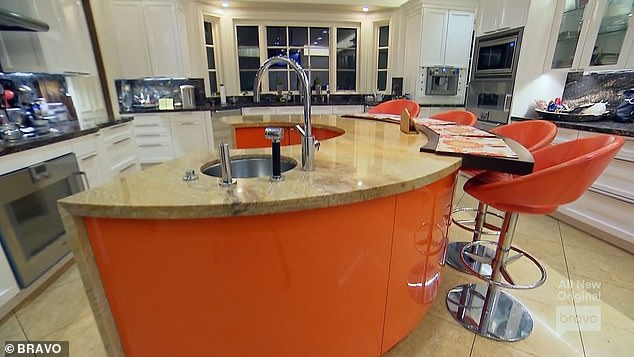 Orange Island: Yuri gave Fredrik a tour of the house which included a kitchen with a shiny custom orange island that gave the episode its title