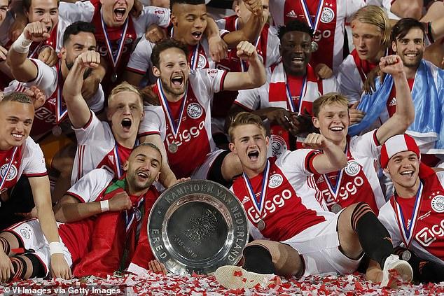 Ajax's key players including Hakim Ziyech (front centre left) Matthijs de Ligt (centre right), Frenkie de Jong (second right and Donny van de Beek (second left) were sold shortly after their 2019 Champions League run and Dutch title success (above)