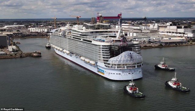 Amazing video footage has been released showing the world's largest cruise ship – Royal Caribbean's Wonder of the Seas – completing her sea trials