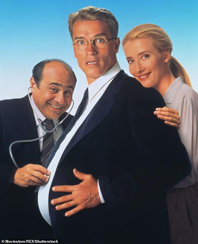 Danny DeVito, Arnold Schwarzenegger and Emma Thompson appear from left in the 1994 film 'Junior'