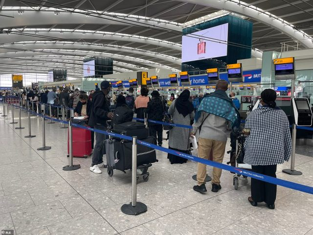 The Government has also slashed the number of countries on the red list, with eight nations being removed from 4am on September 22, including Turkey, Pakistan and the Maldives. Above: Passengers at Heathrow