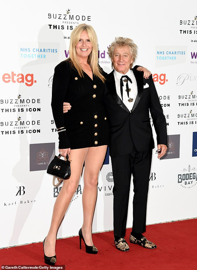 Relax: Sir Rod Stewart, 76, teamed up with his 50-year-old wife, Penny Lancaster, as they headed to London Fashion Week's iconic Icon Ball on Friday.