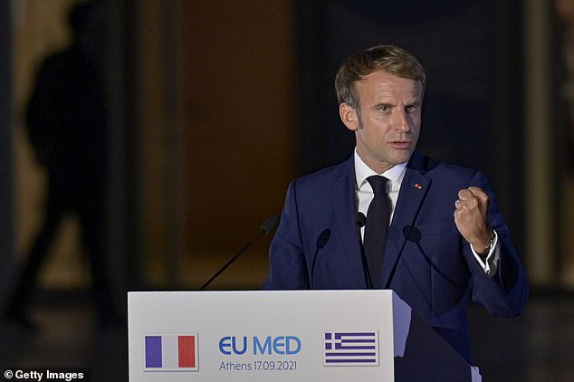 ATHENS, GREECE - SEPTEMBER 17: French President Emmanuel Macron delivering a statement during the EUMed9 Summit at the Stavros Niarchos Foundation Cultural Center on September 17, 2021 in Athens, Greece. The group represents an alliance of southern European Union countries: Croatia, Cyprus, France, Greece, Italy, Malta, Portugal, Slovenia and Spain. (Photo by Milos Bicanski/Getty Images)