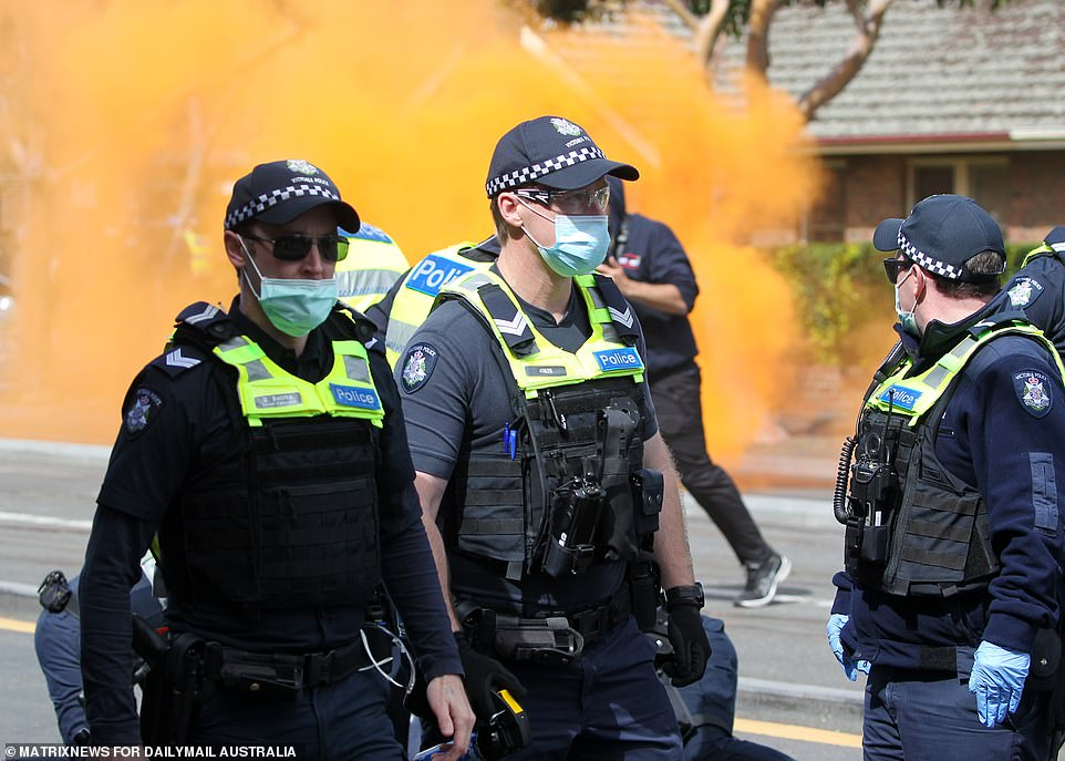 Flares were let off on the outskirts of Melbourne's CBD as the situation threatened to boil over as the state endures yet another lockdown