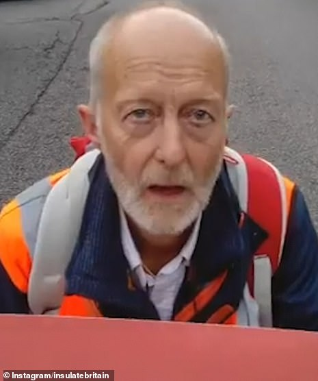MONDAY: Dr Bing Jones pictured as part of the Insulate Britain protests on Monday