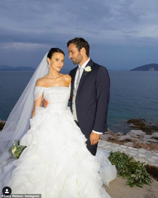 Bride: Over the weekend Lucy posted another photo in her incredible ruffled gown from Mila Nova